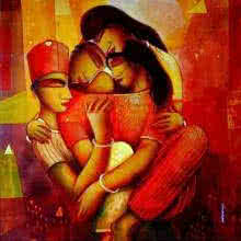 Figurative Acrylic Art Painting title 'My Family' by artist Samir Sarkar