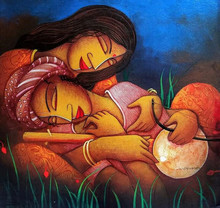 Figurative Acrylic Art Painting title Love by artist Samir Sarkar