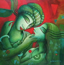 Figurative Acrylic Art Painting title Someone Special by artist Samir Sarkar