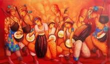 Figurative Acrylic Art Painting title Sounds 1 by artist Samir Sarkar