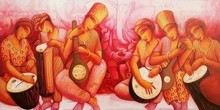 Figurative Acrylic Art Painting title Sounds 3 by artist Samir Sarkar