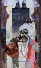 Samwad 4 | Painting by artist Ramchandra Kharatmal | acrylic-charcoal | Canvas