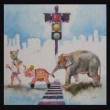 Haati Mere Saathi | Painting by artist Ramchandra Kharatmal | Watercolor | Paper