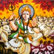 Figurative Acrylic Art Painting title 'Bharat Mata I' by artist Anirban Seth