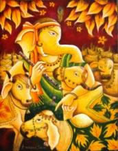 Religious Acrylic Art Painting title 'Ganesha In Krishna Mood' by artist Anirban Seth