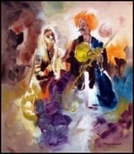 Folk Musicians | Painting by artist Kariyappa Hanchinamani | acrylic | Canvas