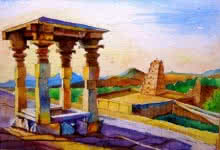 Hampi | Painting by artist Chetan Agrawal | watercolor | Handmade Paper