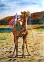 Animals Watercolor Art Painting title 'Rajasthan' by artist Chetan Agrawal