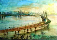 Cityscape Watercolor Art Painting title 'Sealinkmumbai' by artist Chetan Agrawal
