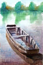 Landscape Watercolor Art Painting title 'The Boat' by artist Chetan Agrawal
