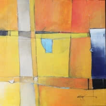 Abstract Acrylic Art Painting title 'Remanat 46' by artist Amrish Malvankar
