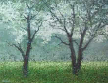 Fareed Ahmed Paintings | Oil Painting - Babool tree by artist Fareed Ahmed | ArtZolo.com