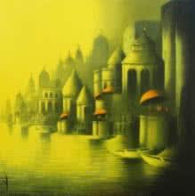 Golden Banaras | Painting by artist Somnath Bothe | mixed-media | Canvas