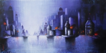 Cityscape Acrylic Art Painting title 'Holy Banaras 13' by artist Somnath Bothe