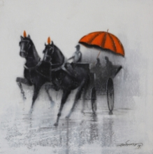 Animals Acrylic-charcoal Art Painting title 'Monsoon Ride 12' by artist Somnath Bothe