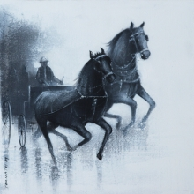 Animals Acrylic-charcoal Art Painting title 'Monsoon Ride 14' by artist Somnath Bothe