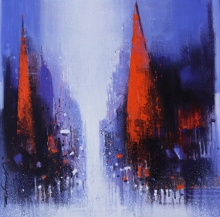 Cityscape Acrylic Art Painting title Path Of Heaven 1 by artist Somnath Bothe