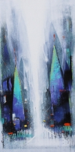 Cityscape Acrylic Art Painting title Path Of Heaven 5 by artist Somnath Bothe