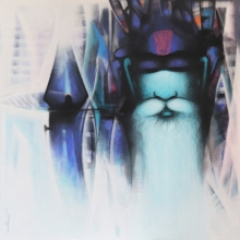 Religious Acrylic-charcoal Art Painting title Sadhu The Holy Man Of India by artist Somnath Bothe