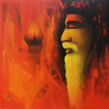 Religious Acrylic-charcoal Art Painting title Sadhu The Holy Man Of India 2 by artist Somnath Bothe