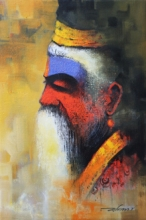 Religious Acrylic Art Painting title 'Wisdom Of The Sadhu' by artist Somnath Bothe