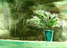 Landscape Watercolor Art Painting title 'Bay Window Plant' by artist Anil Nene