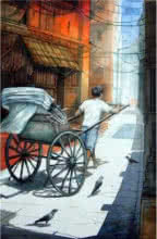 Rickshawwala 3 | Painting by artist RD Roy | watercolor | Paper