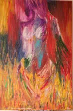 Impressionist Oil Art Painting title 'Flames Her Endless Passion And Desire' by artist Bhawna Jotshi
