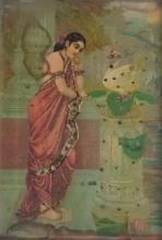Religious Oleograph Art Painting title 'Hamsa Damayanti' by artist Raja Ravi Varma