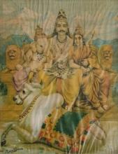 Religious Oleograph Art Painting title 'Kailash Shankara 2' by artist Raja Ravi Varma