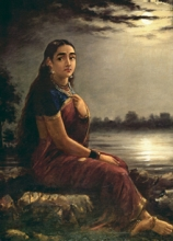 Figurative Oil Art Painting title 'Lady In Moonlight' by artist Raja Ravi Varma