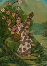 Religious Oleograph Art Painting title 'Saraswati 1' by artist Raja Ravi Varma