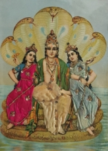 Religious Oleograph Art Painting title 'Vishnu With Consorts' by artist Raja Ravi Varma
