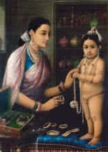 Figurative Oil Art Painting title 'Yashodha Adorning Krishna' by artist Raja Ravi Varma Reproduction