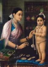 Yashodha Adorning Krishna | Painting by artist Raja Ravi Verma Reproduction | oil | Canvas