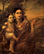 Figurative Oil Art Painting title 'Yasoda Krishna' by artist Raja Ravi Varma Reproduction