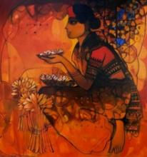 Figurative Acrylic Art Painting title Flower Seller 5 by artist Sachin Sagare