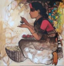 Figurative Acrylic Art Painting title Flower Seller 7 by artist Sachin Sagare