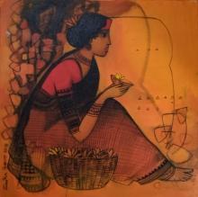 Figurative Acrylic Art Painting title Flower Seller 8 by artist Sachin Sagare