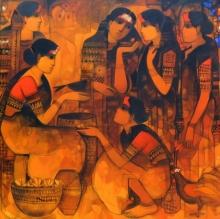Sachin Sagare Paintings | Acrylic Painting - Friends 2 by artist Sachin Sagare | ArtZolo.com