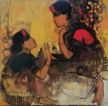 Figurative Acrylic Art Painting title Gossiping Women 3 by artist Sachin Sagare