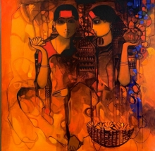 Figurative Acrylic Art Painting title The Indian Woman 5 by artist Sachin Sagare
