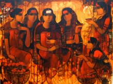 Figurative Acrylic Art Painting title 'Women Gossiping 7' by artist Sachin Sagare