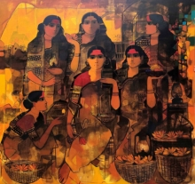 Figurative Acrylic Art Painting title 'Women In Group 4' by artist Sachin Sagare