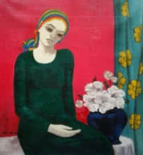 Figurative Acrylic Art Painting title Girl With The Flowers by artist Anil Mahajan
