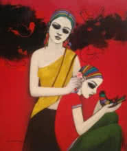 With Birds | Painting by artist Anil Mahajan | acrylic | Canvas
