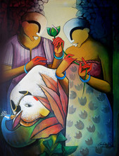 contemporary Acrylic Art Painting title A Moment of Love by artist Anupam Pal