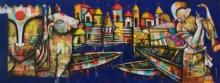 contemporary Mixed-media Art Painting title Banaras Ghat 4 by artist Anupam Pal
