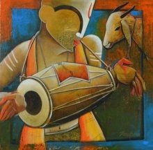 Calling Melodies | Painting by artist Anupam Pal | mixed-media | canvas