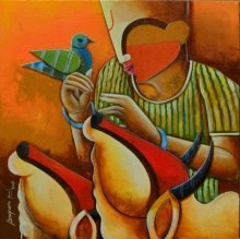 Bovine frandship   Painting by artist Anupam Pal   acrylic   canvas